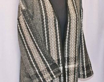 Warm wool gray stripe hand woven jacket, handwoven gray wool jacket