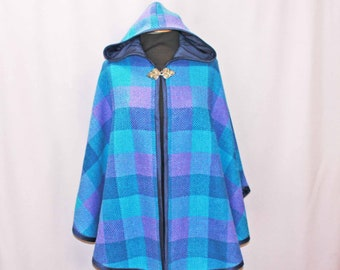 Blue hand woven woolen hooded cape, wool shawl, poncho, ruana, hooded cloak