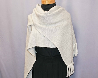 Silver gray and white hand woven alpaca shawl, alpaca wrap, white stole