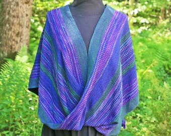 Purple and green cotton infinity shawl, hand woven mobius wrap, stole, cape