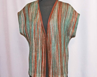 Brown and teal hand-dyed, handwoven merino wool and tencel vest, sleeveless jacket