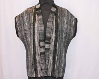 Black and gray merino wool hand woven jacket, vest, top