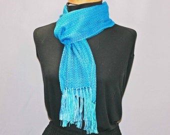 Turquoise and blue shimmery tencel scarf, all seasons fashion scarf