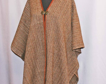 Tan and brown wool handwoven ruana, woven cape, shawl, poncho