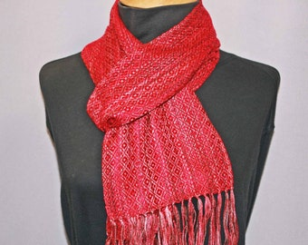 Red and rust hand woven tencel scarf, autumn hued woven scarf, lightweight all season scarf