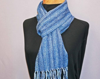 Blue and silver hand woven cotton scarf with a touch of sparkle