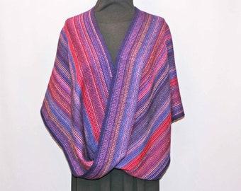 Purple wool hand woven infinity shawl, woven stole, wrap, poncho