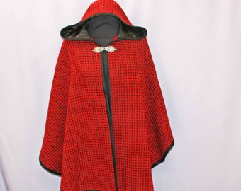 Red wool hand woven hooded cape, hooded cloak, poncho