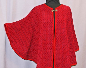 Red wool hand woven cape, handwoven red wool shawl, poncho