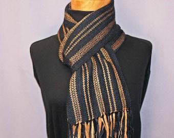 Black and gold handwoven alpaca scarf, woven alpaca silk scarf, men's scarf