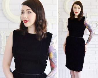 Vintage 1950s Sleeveless Black Velvet Dress with Back Bows by Ann Barry Jr Size XS
