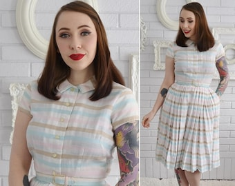 e3a65aea342 Vintage 1950s Off-White and Pastel Striped Cotton Dress with Belt and  Pockets by Muriel Ryan Size XS