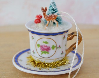 Teacup Ornament with Diorama of Mushrooms, Tree and Vintage Deer