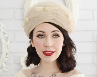 Vintage Light Beige Tulle Hat with Cream Velvet Bows