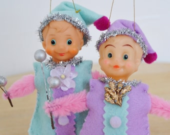 Pair of Elf Ornaments with Vintage Heads and Handmade Bodies
