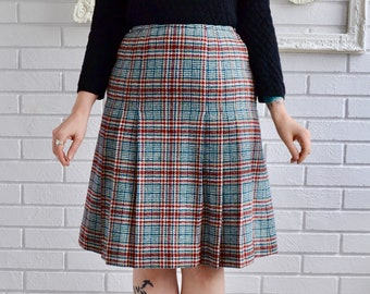 Vintage 1970s Dark Teal and Burgundy Plaid Wool Skirt by Young Pendleton Size XS