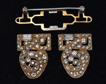 Vintage 1940s Rhinestone Coro Duette Brooch with Attached Dress Clips