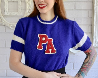 Vintage 50s 60s Cheerleading Short Sleeve Sweater in Blue and Cream by Dehen  Knitting Co Size Small or Medium e5c6528cb