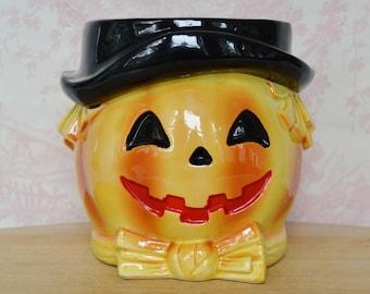 Vintage 1960s Ceramic Pumpkin Head Planter with Black Hat by Relpo