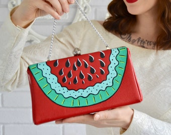 Watermelon A Go-Go Handbag or Clutch, Vintage and Upcycled