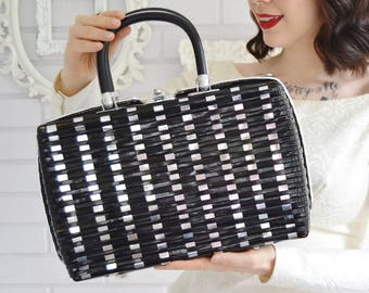 RESERVED  Vintage 1960s Black Vinyl and Metal Woven Handbag with Red Lining by Princess Charming by Atlas