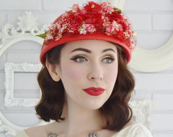 Vintage Red Woven Raffia Hat with Fabric Flowers Mache Berries and Netting