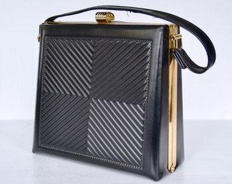 Vintage Black Vinyl Box Handbag with Gold-Tone Metal Hardware Made in England