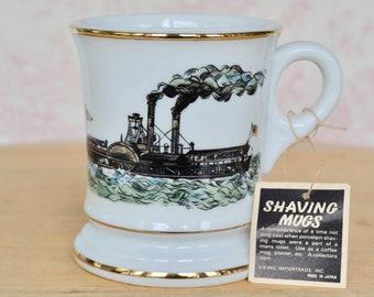 Vintage Shaving Mug or Drinking Mug with Steamboat Illustration Made by Viking Imports Japan