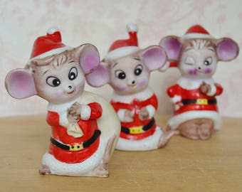 Vintage Trio of Mice in Santa Claus Suits Figurines Made in Taiwan