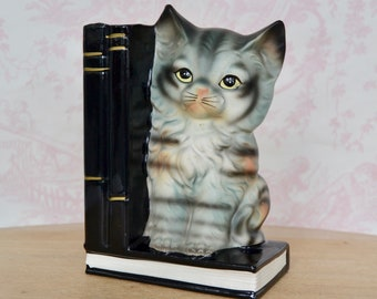 Vintage Bank and Single Bookend with Cat on Books