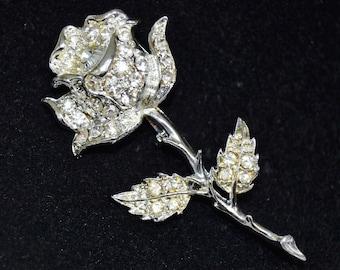 Vintage Rose Brooch in Silver Tone Metal with Clear Rhinestones