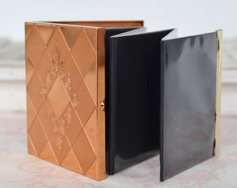 Vintage Compact Photo Album in Copper-Colored Metal