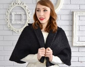 Vintage 50s 60s Black Wool Capelet with Faux Persian Lamb Look XS and Small