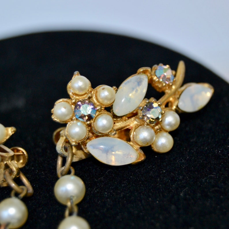 Vintage Sweater Clips with Faux Pearl and Rhinestone Flowers