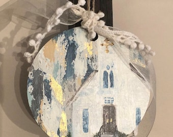 Hand painted ornament, Church ornament