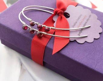 Modern Red Garnet Earrings, Gold Red Stone Earrings, January Birthstone Earrings, Red Gemstone Jewelry