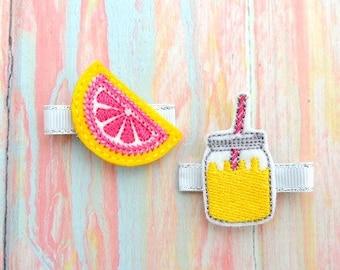 Lemon bow - Pink and yellow bow - Lemon hair bow - Lemonade pig tails - Lemon clips - Lemon hair bows - Lemon headband - Jar feltie