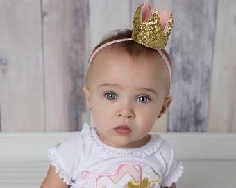 Gold glitter crown - First birthday crown - Gold crown headband - Birthday crown - First birthday crown - Gold first headband