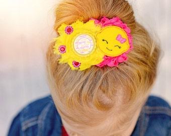Lemon bow - Pink and yellow bow - Lemon hair bow - Shabby lemon bow  -Baby shower gift - New baby gift - Baby lemon bow