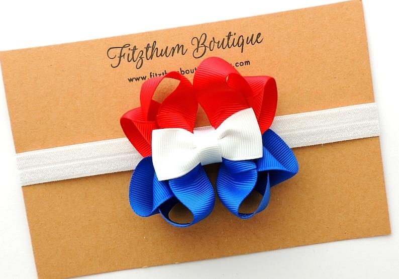 READY TO SHIP July 4th headband First 4th of July headband Baby girl 4th of July headband Red white and blue headband
