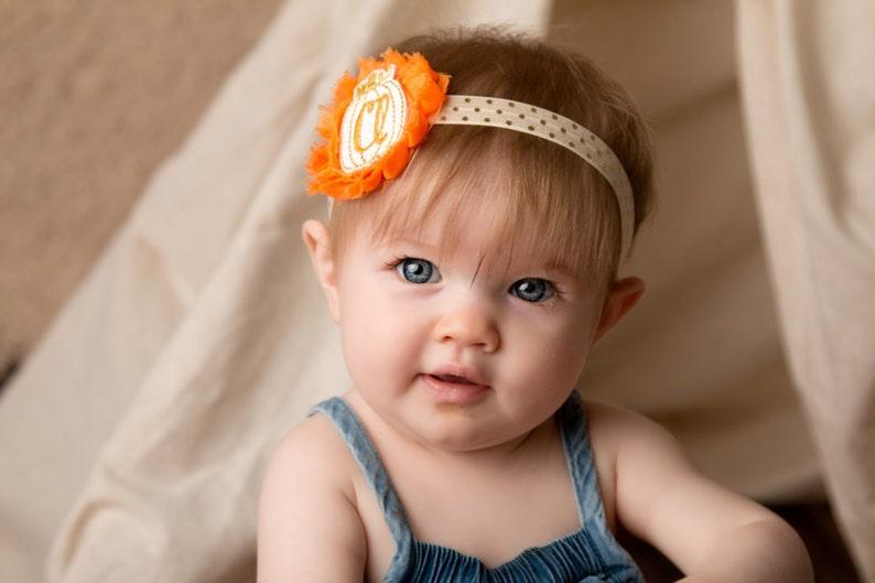 Personalized fall headband Fall baby headband Monogram headband Personalized baby headband Pumpkin patch headband
