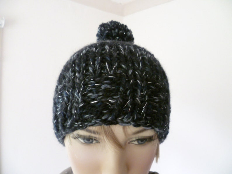 Ladies/' hat slouchy beanie with pompom hand knitted  FREE UK SHIPPING