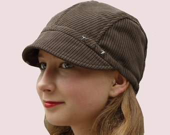 906cc5776c4 SEWING PATTERN  Newsboy Cap in Cotton Corduroy with Metal Star Grommets and  Elastic Band