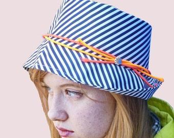 ff97bda93fb Marine Club Rain Hat Fedora in Navy Stripe with Neon Trim