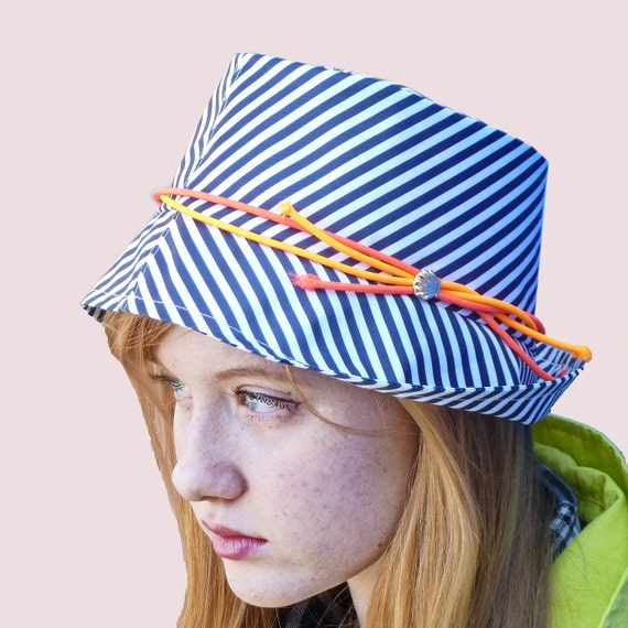 4d2ee5403f0d9 Marine Club Rain Hat Fedora in Navy Stripe with Neon Trim