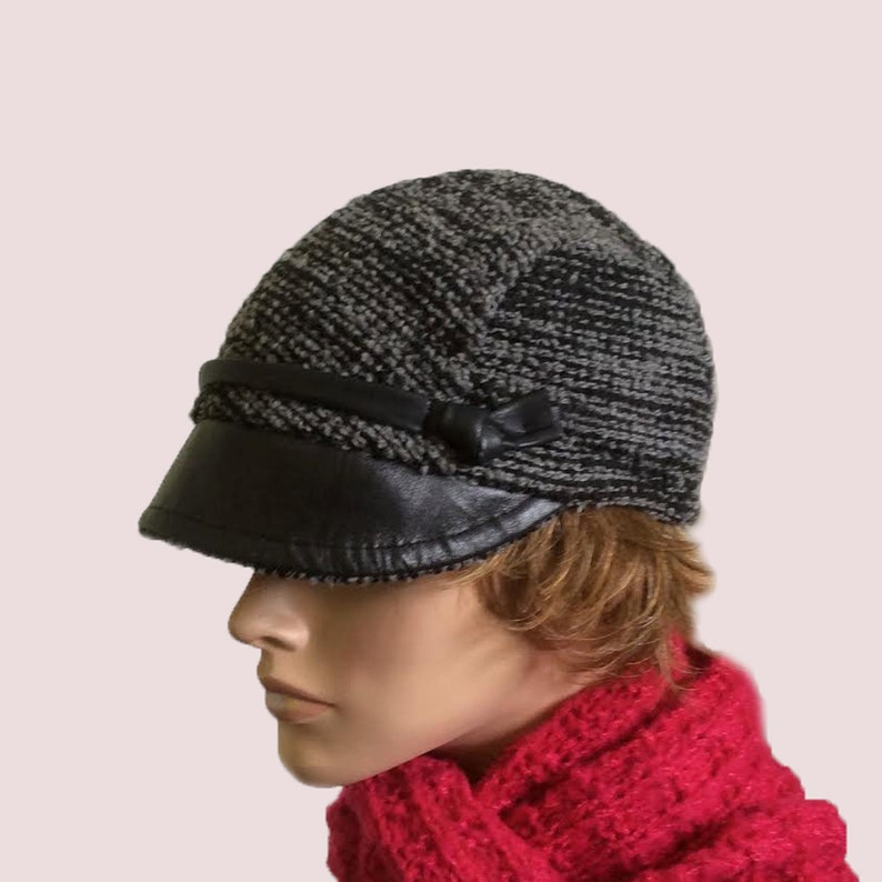 7ed9e650619 Leather Visor Newsboy Cap Knit Hat in Grey Wool and Mohair
