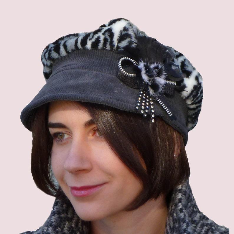 cb0e1b4a545b Snow Leopard Winter Newsboy Cap Newsgirl Warm Hat Corduroy | Etsy