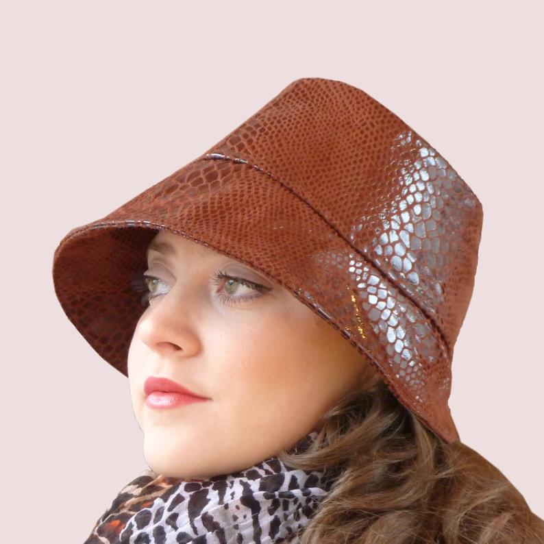 Snakeskin Fedora Rain Hat in Brown Reptile Flocked Vinyl  5464b45b83a