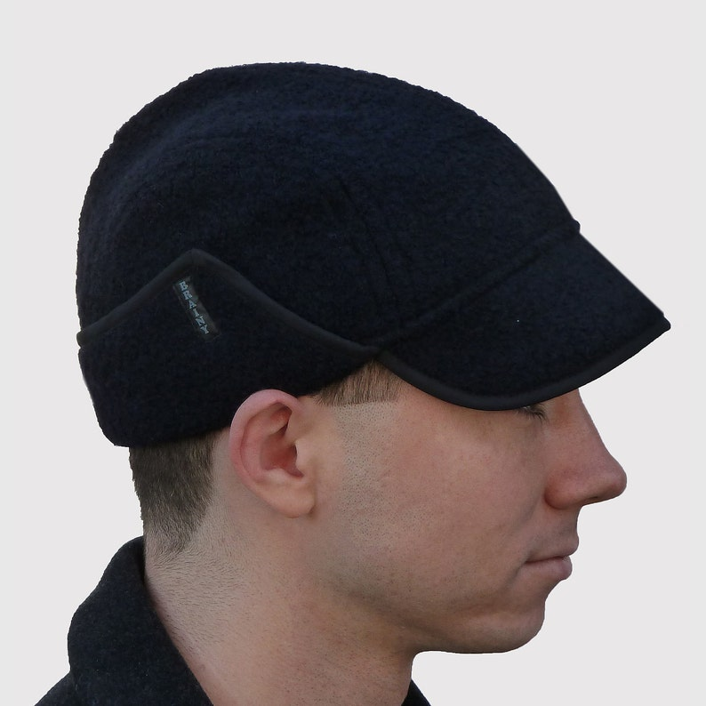 Soft and Stretchy in Black Alpaca /& Wool Knit Extra Warm Ranger Cap with Ear Flaps Brainy Explorer Men/'s Hat