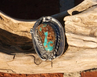 de5858ac39 Natural Carico Lake Nevada Turquoise and Sterling Silver Navajo Ring size 6